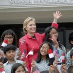 U.S. Secretary of State Hillary Clinton on a 2009 visit to Indonesia
